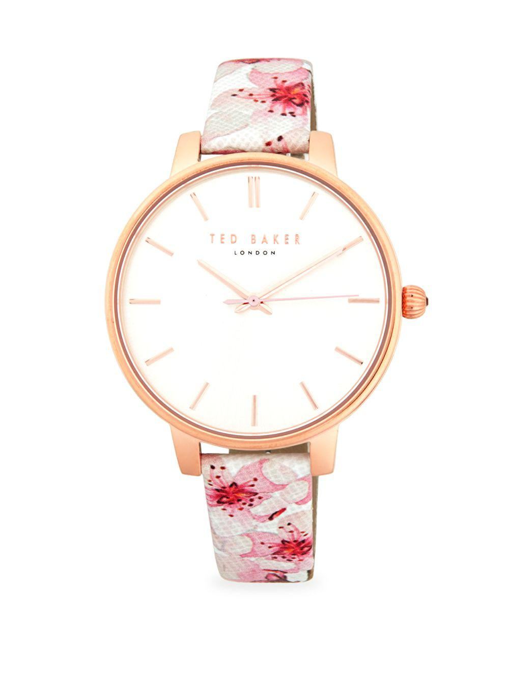 82a540a09 Ted Baker Floral Stainless Steel   Leather-strap Watch - Lyst
