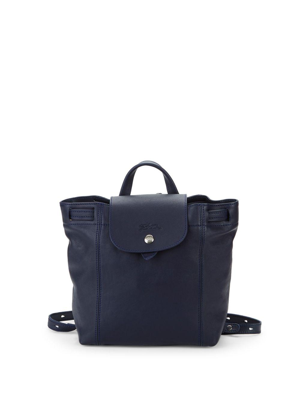 6734e864b786 Lyst - Longchamp Le Pliage Cuir Leather Backpack in Blue