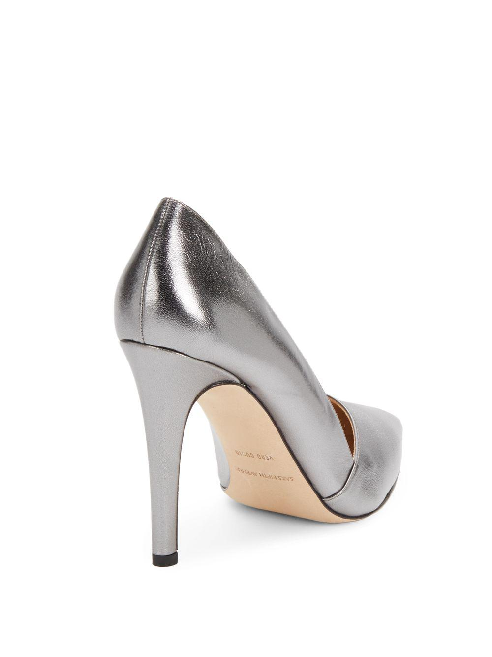 Saks Fifth Avenue Metallic Leather Pumps free shipping 2014 newest cheap high quality vFhlm