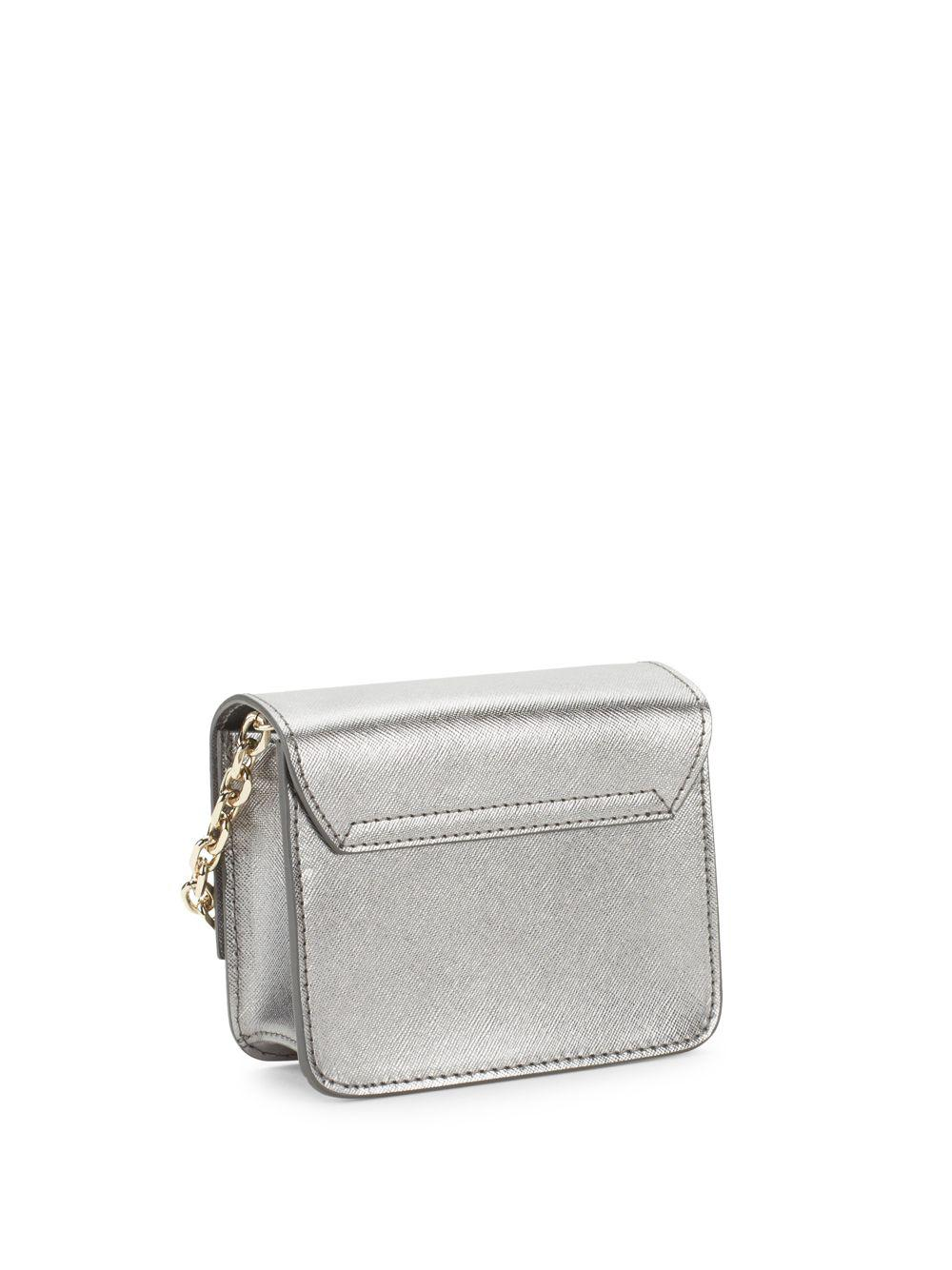 b746f77d2a Lyst - Versace Metallic Leather Crossbody Bag in Gray