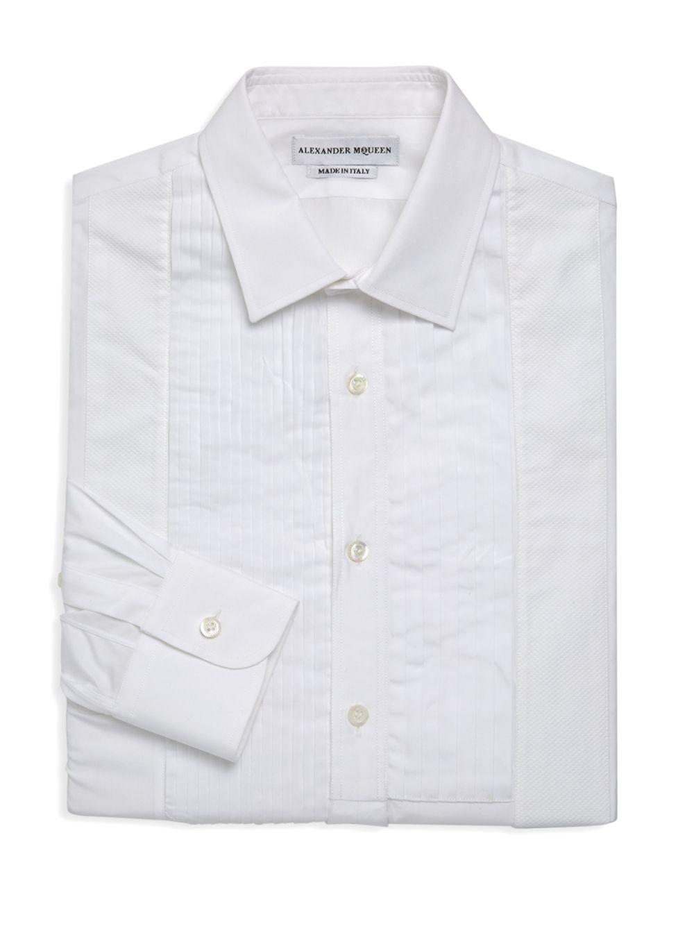 5b97f917dc132d Alexander McQueen - White Long-sleeve Pleated Front Shirt for Men - Lyst.  View fullscreen