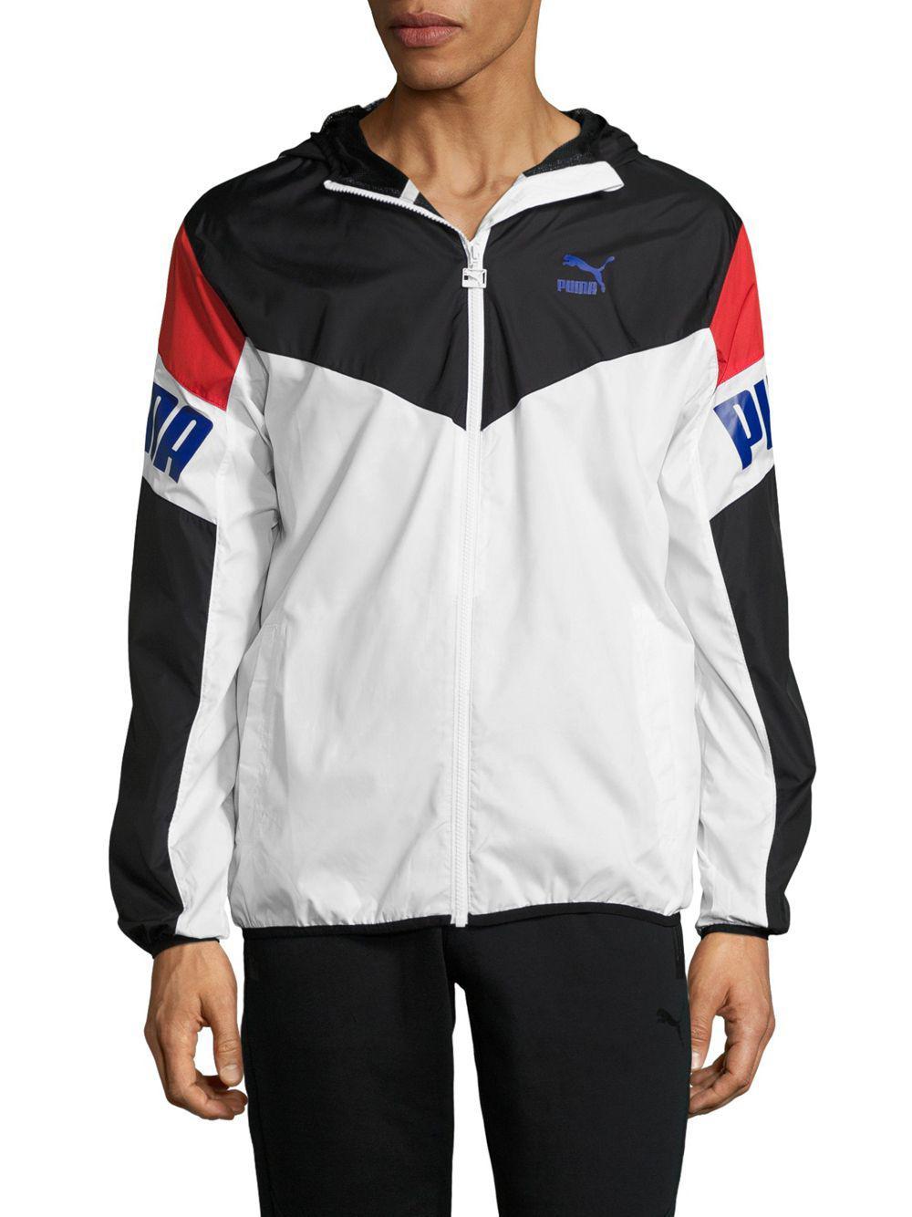 7a00b51f7966 Puma Football Windbreaker Hooded Jacket in White for Men - Lyst