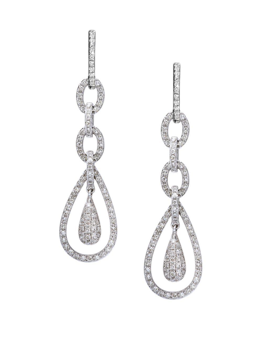 Effy Women S Diamond 14k White Gold Teardrop Earrings