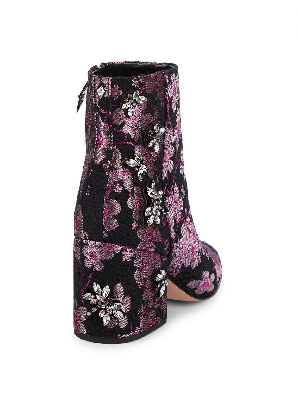 7af690b9e5ad Lyst - Sam Edelman Taye Embellished Brocade Ankle Boots in Pink