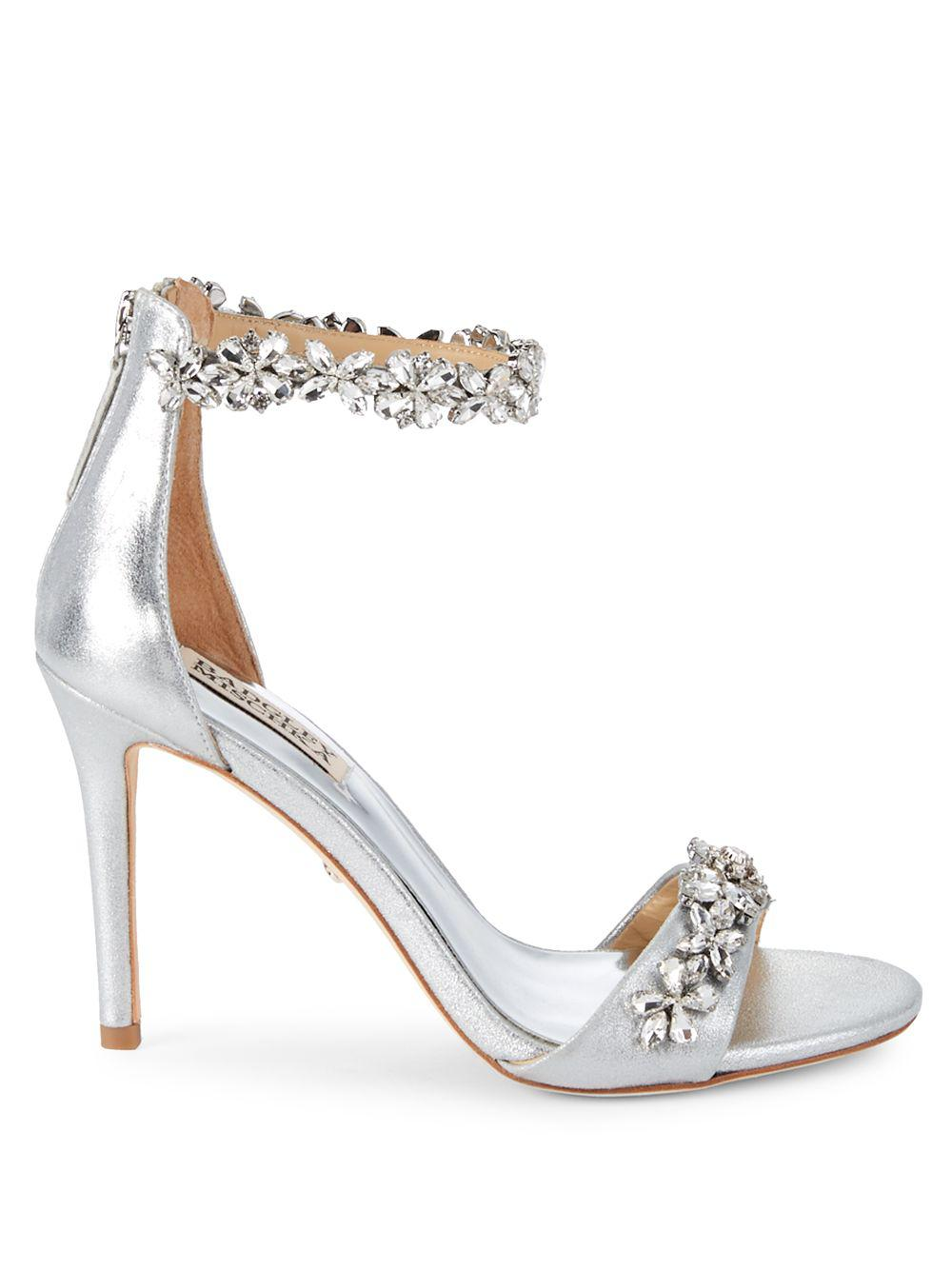 ba6ba4bb9bd Lyst - Badgley Mischka Valentine Embellished Leather Ankle-strap ...