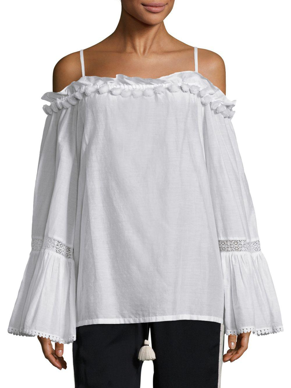c9970094307ae Lyst - Figue Anita Cotton Cold-shoulder Top in White
