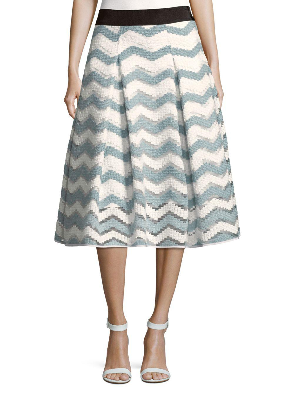 43dd460789 MILLY - Gray Chevron Inverted Pleat Skirt - Lyst. View fullscreen