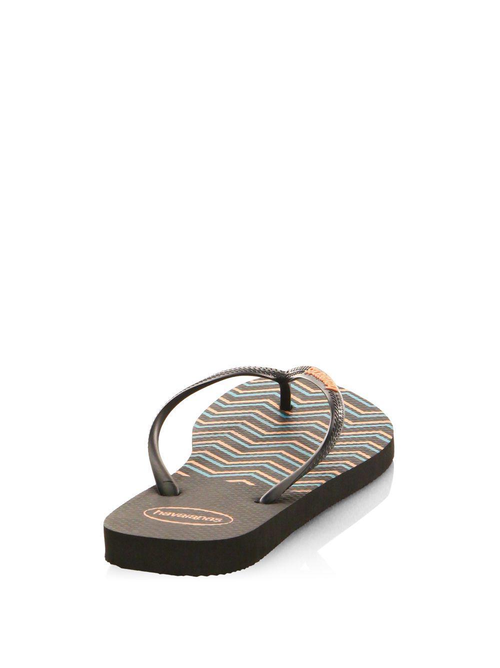 f70957e33e05b Havaianas Slim Zigzag Flip Flops in Black - Save 25.0% - Lyst