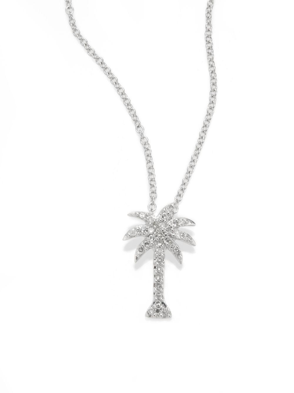 Lyst effy diamond 14k white gold palm tree pendant necklace in effy womens diamond 14k white gold palm tree pendant necklace aloadofball Images
