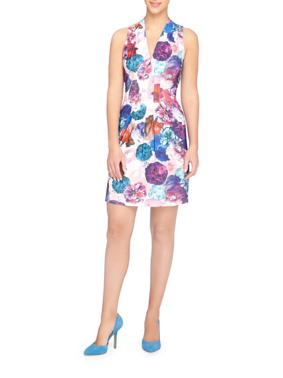 9013bcdc Lyst - Catherine Malandrino Tinka Graphic Floral Sheath Dress in Blue