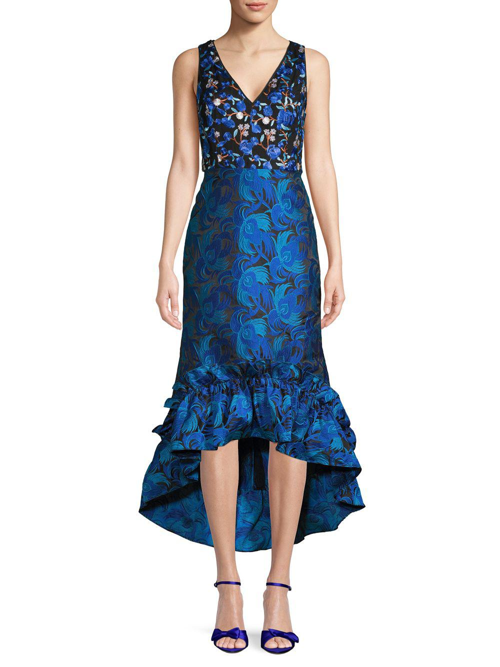 53c4437a206 Belle By Badgley Mischka. Women s Blue Sandrine Embroidered Floral High-low  Sheath Dress