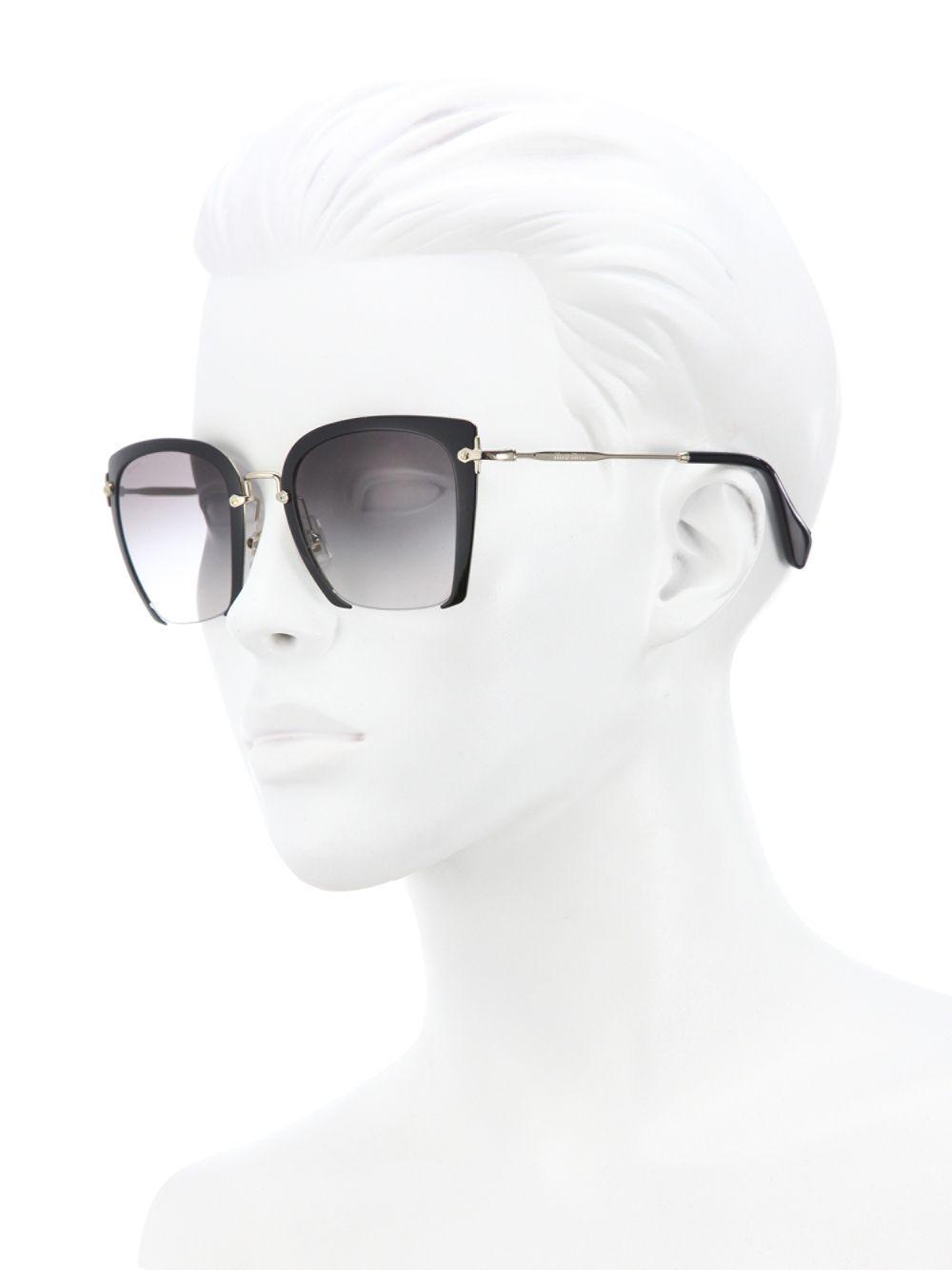 4381a87dc7d6 Lyst - Miu Miu 52mm Semi-rimless Acetate   Metal Square Sunglasses ...