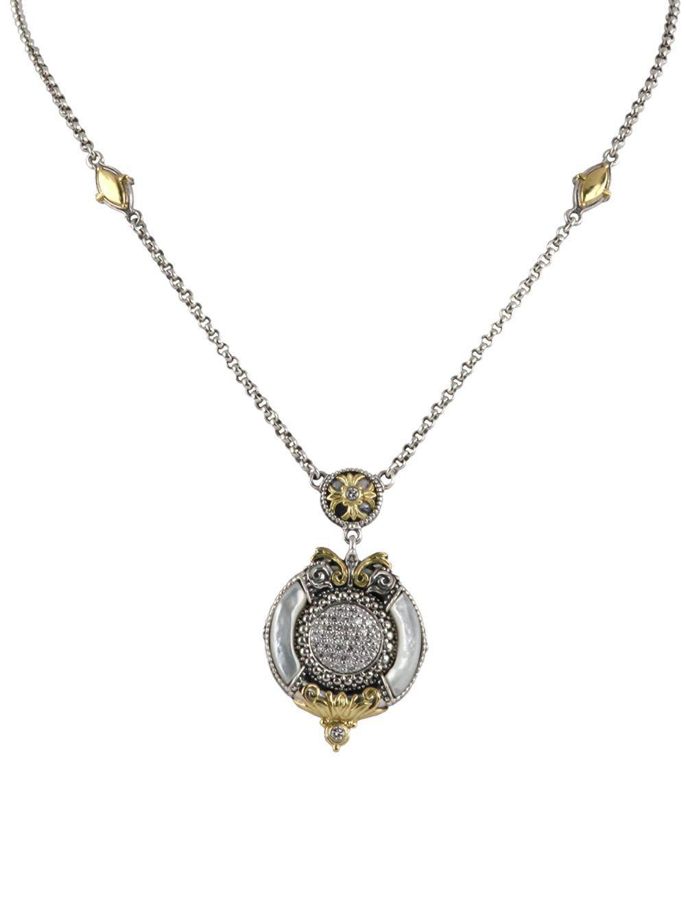 Konstantino Asteri Ornate Round Pendant w/ Pave White Diamonds & Mother-of-Pearl Inlay 8xCdk3