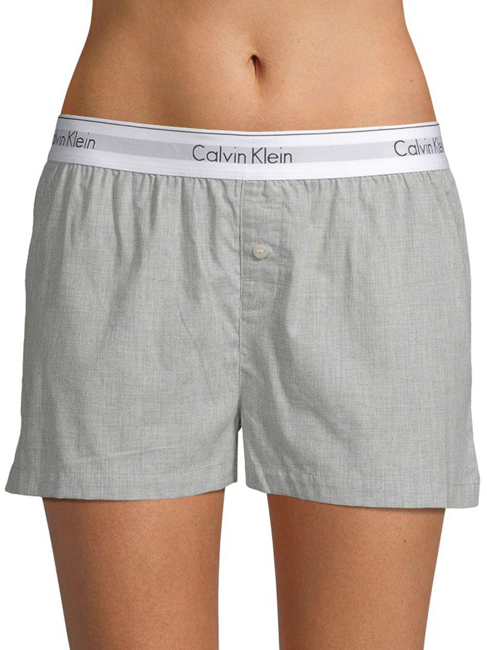 Calvin Klein - Gray Logo Waist Cotton Sleep Shorts - Lyst. View fullscreen dd61d21e8