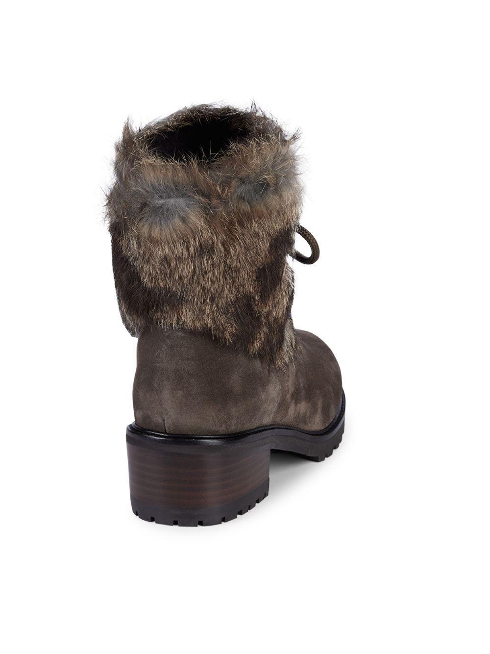38dbefc821b Stuart Weitzman Furnace Mink Fur   Suede Lace-up Booties in Gray - Lyst