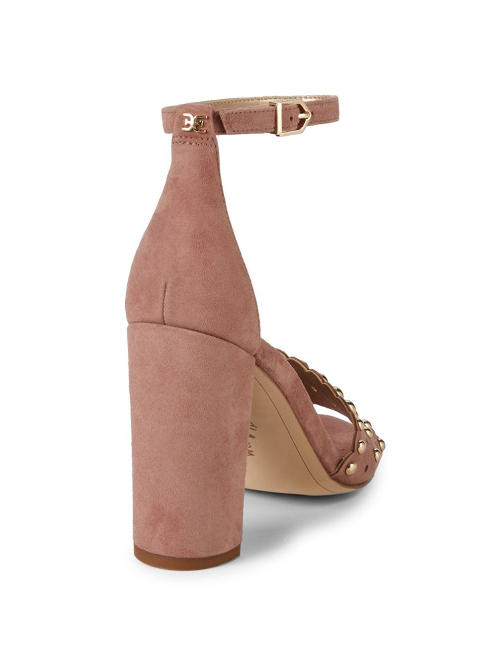 1e60ee0de Sam Edelman - Brown Yaria Studded Suede Block-heel Sandals - Lyst. View  fullscreen