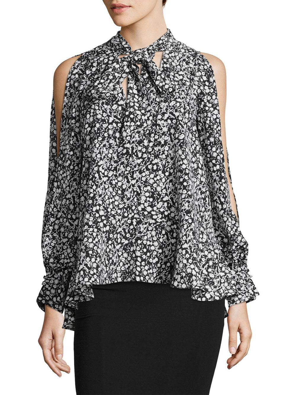 95fc529b7c8702 French Connection Cold-shoulder Floral Blouse in Black - Lyst
