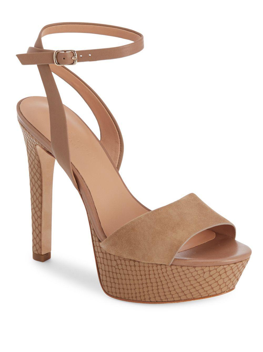 3ccdfbb4b289 Lyst - Halston Heritage Leather Open-toe Platform Sandals