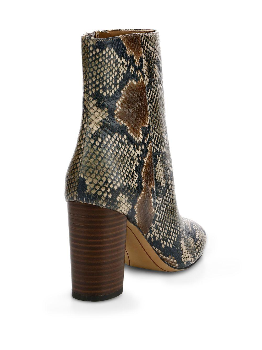 d5f92d70beb0 Lyst - Sam Edelman Corra Snake-embossed Ankle Boots in Brown