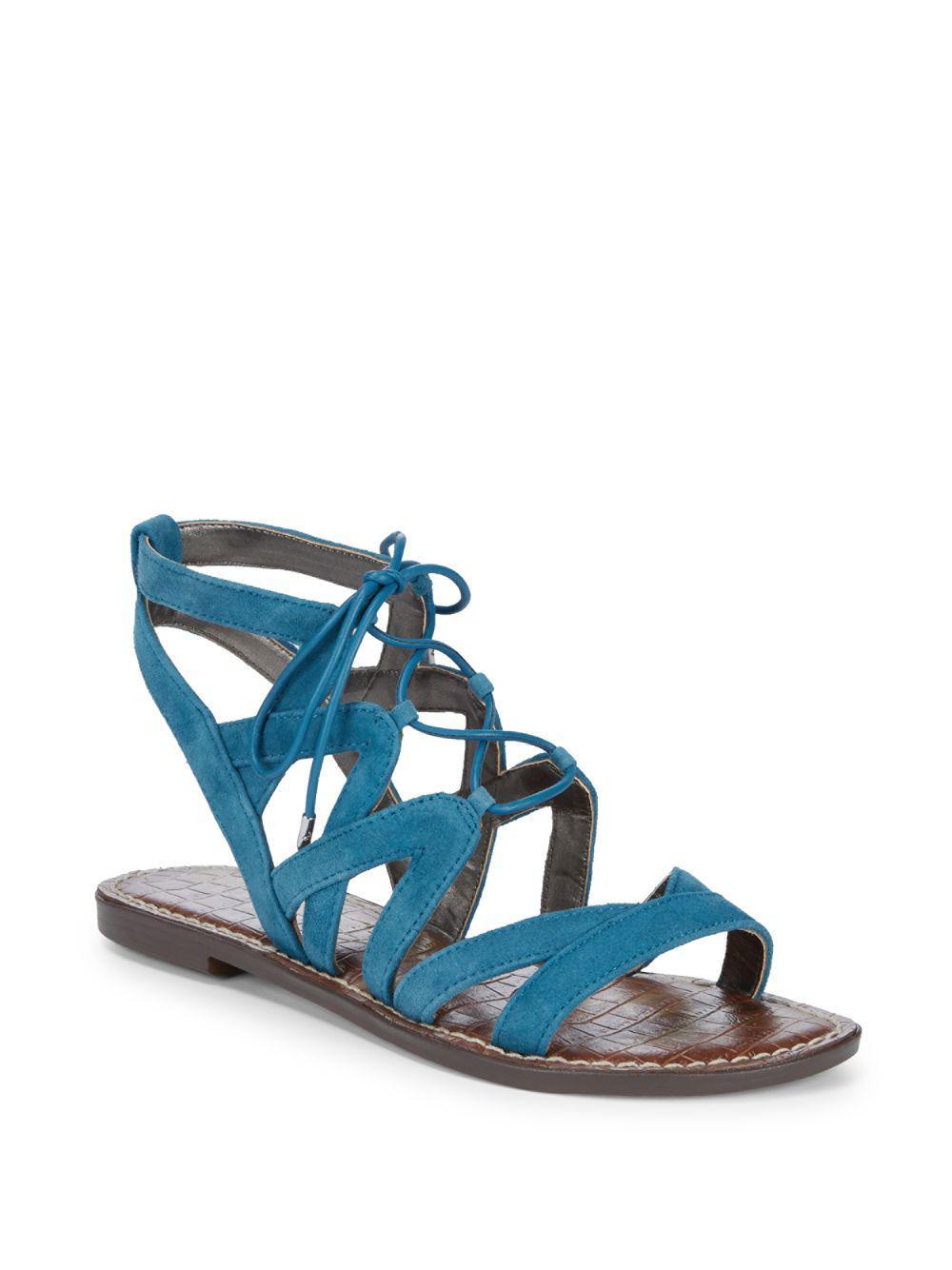 e29f179ec33 Lyst - Sam Edelman Gemma Lace-up Leather Sandals in Blue