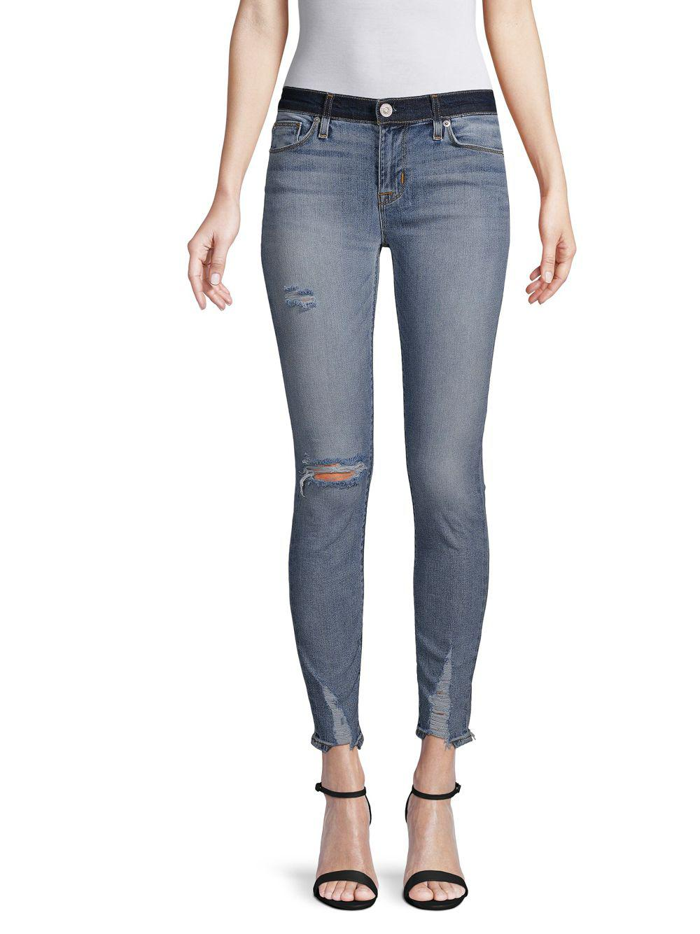 03dd12b6975 Lyst - Hudson Jeans Distressed Mid-rise Cropped Super Skinny Jeans ...