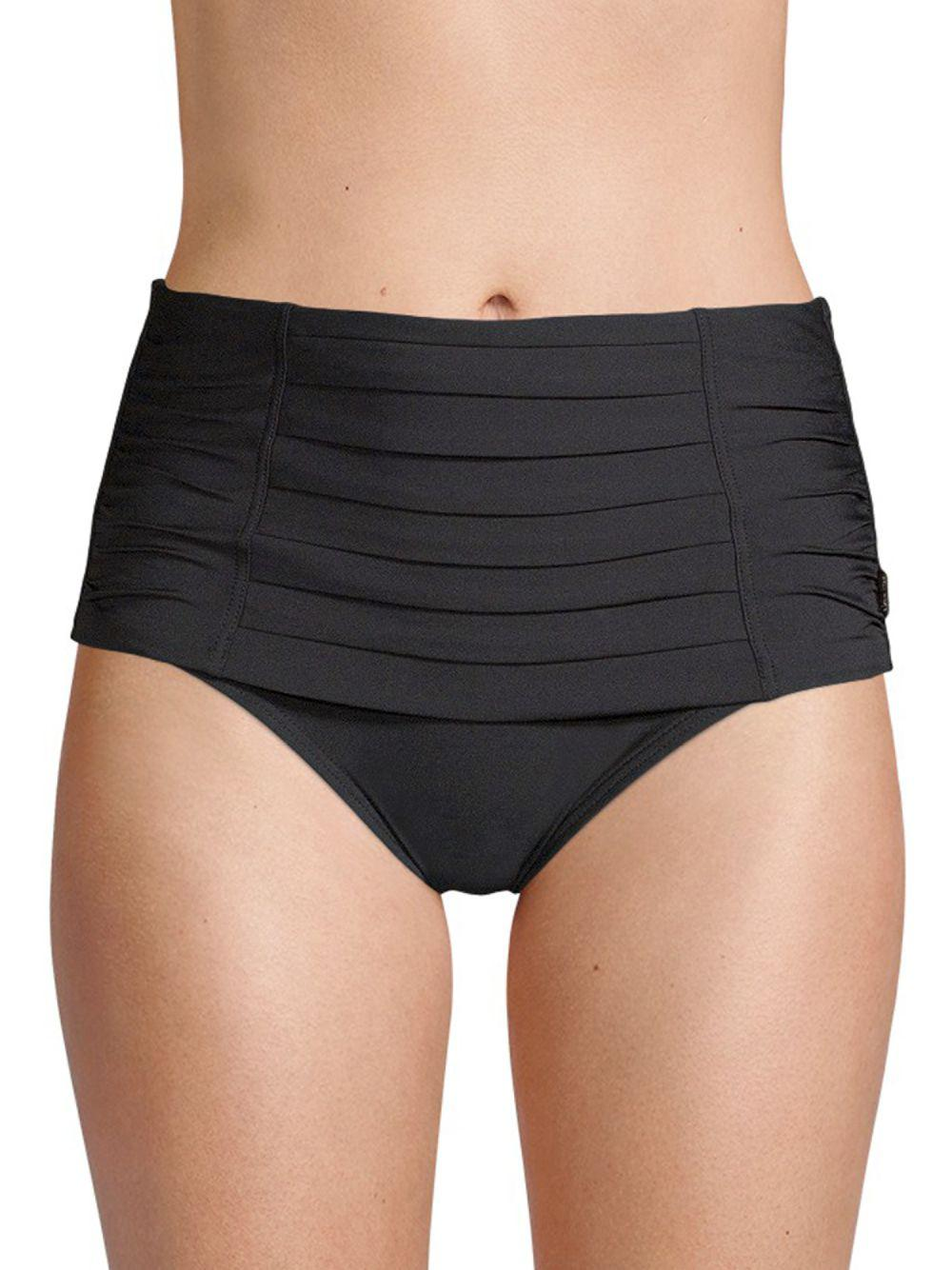 90623eeb7901d Lyst - Calvin Klein Pleated High-rise Bikini Bottoms in Black