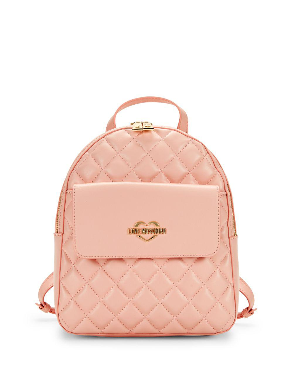 cf786659e6294 Love Moschino - Pink Quilted Faux Leather Backpack - Lyst. View fullscreen