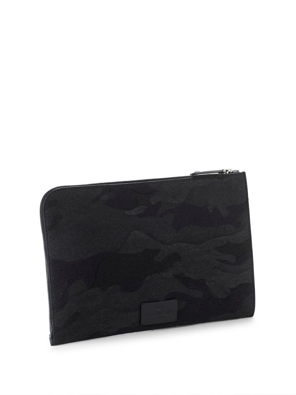 01e6e2dafb Lyst - Valentino Logo Patch Camouflage Document Case in Black for Men