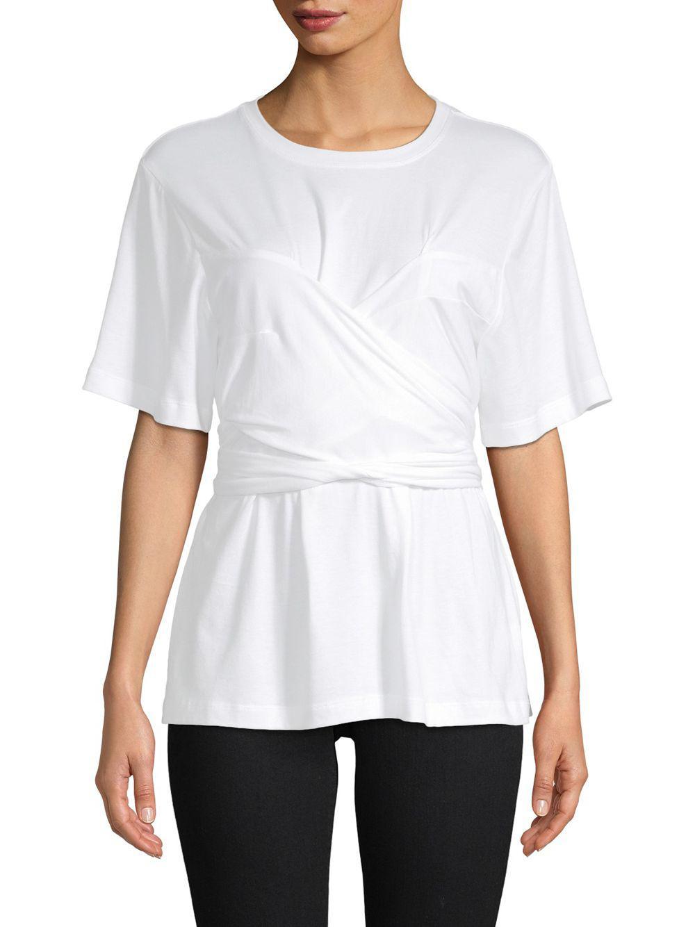 7a4083819e9f76 Lyst - Proenza Schouler Self-tie Cotton Top in White