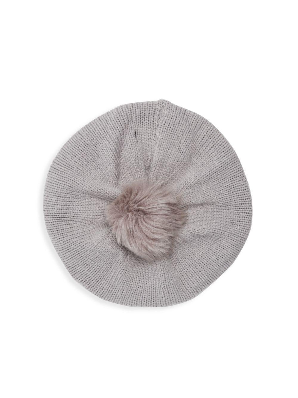 Lyst - Adrienne Landau Dyed Fox Fur Pom-pom Beret in Gray 0ac0081d5387