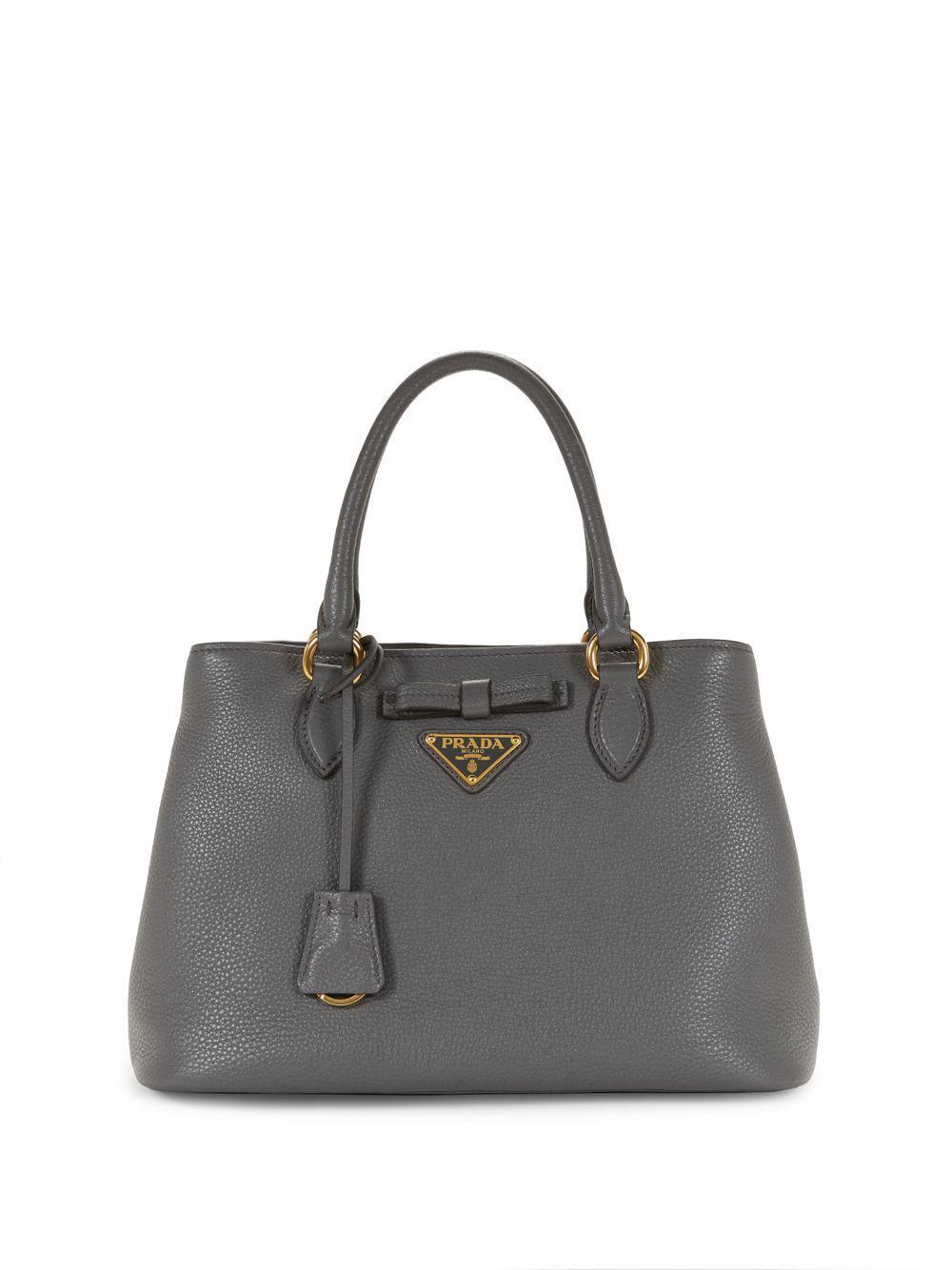 Prada - Gray Leather Logo Satchel - Lyst. View fullscreen 8d594855ec6ce