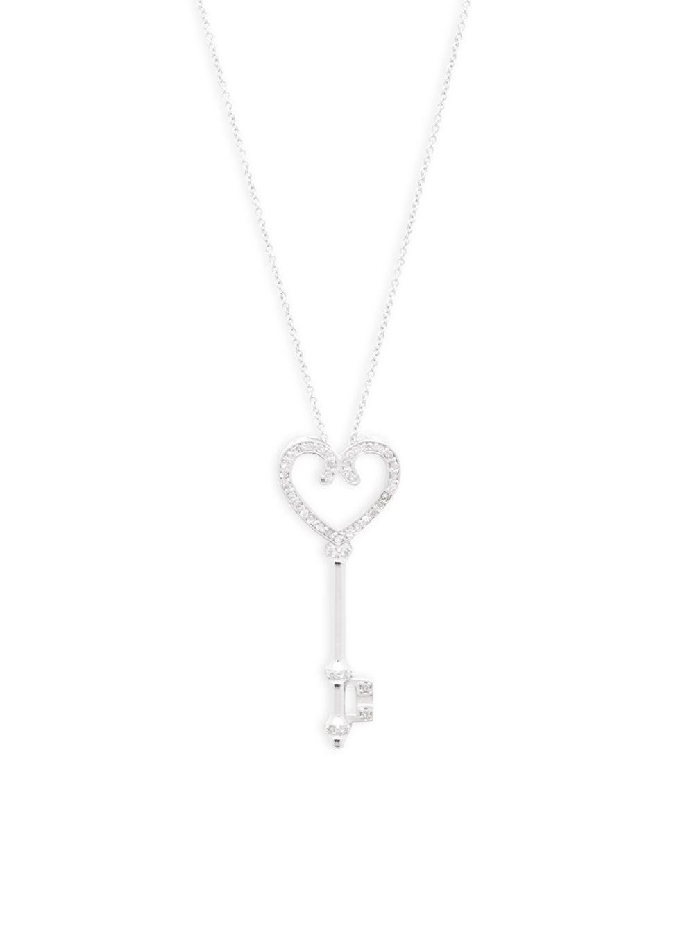 Effy diamond and 14k white gold key pendant necklace in metallic lyst effy womens metallic diamond and 14k white gold key pendant necklace aloadofball Images