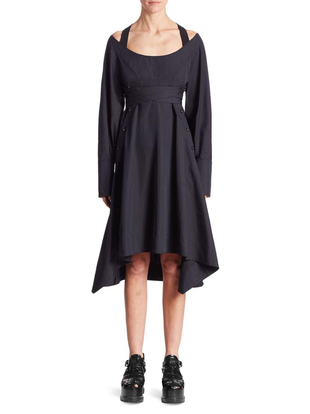 Proenza Schouler Woman Tie-back Layered Crepe Mini Dress Black Size 0 Proenza Schouler p6dBPcT