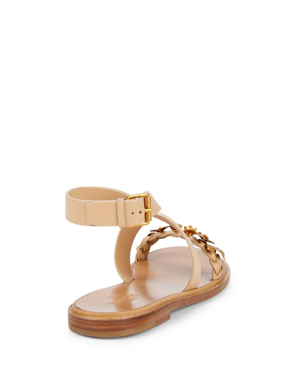 3eb1352549fa Lyst - Valentino Floral Leather Ankle-strap Sandals in Brown