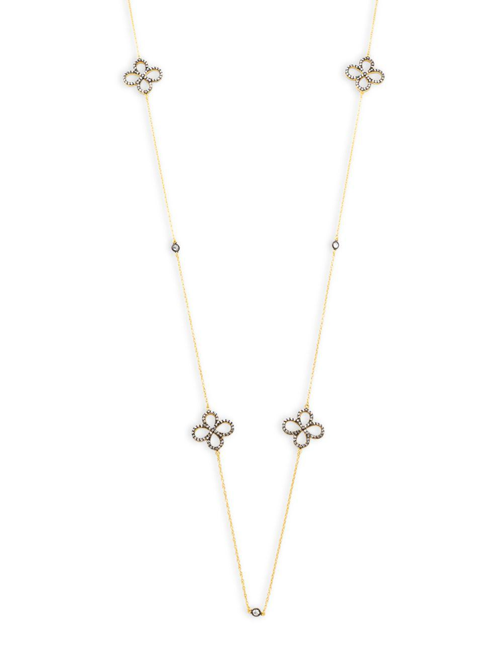 Freida Rothman Two Tone Open Pave Clover Station Long Wrap Necklace 7wNy7GG3h7