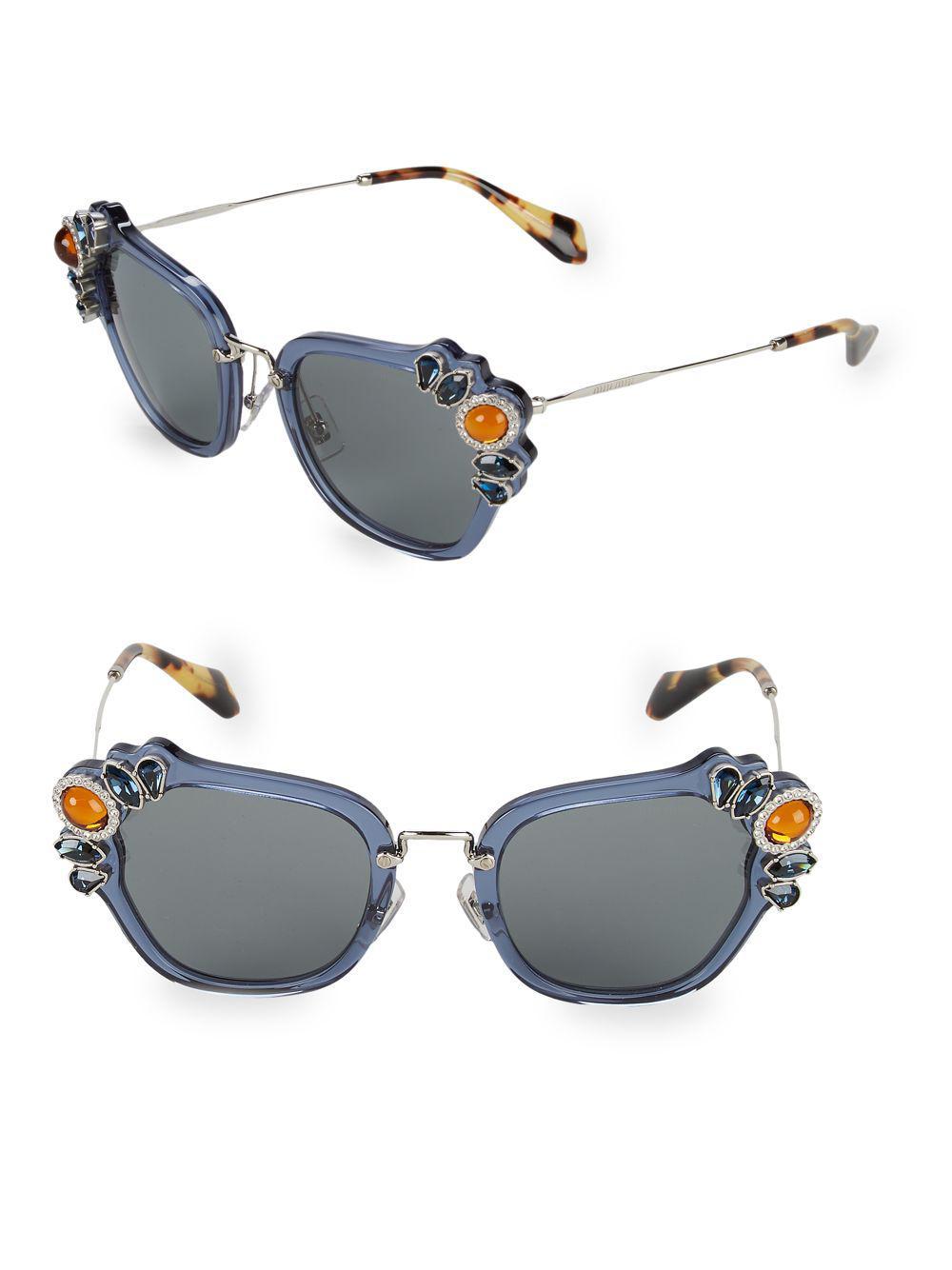 e936ccd9458 Lyst - Miu Miu Crystal Embellished 51mm Cateye Sunglasses in Blue