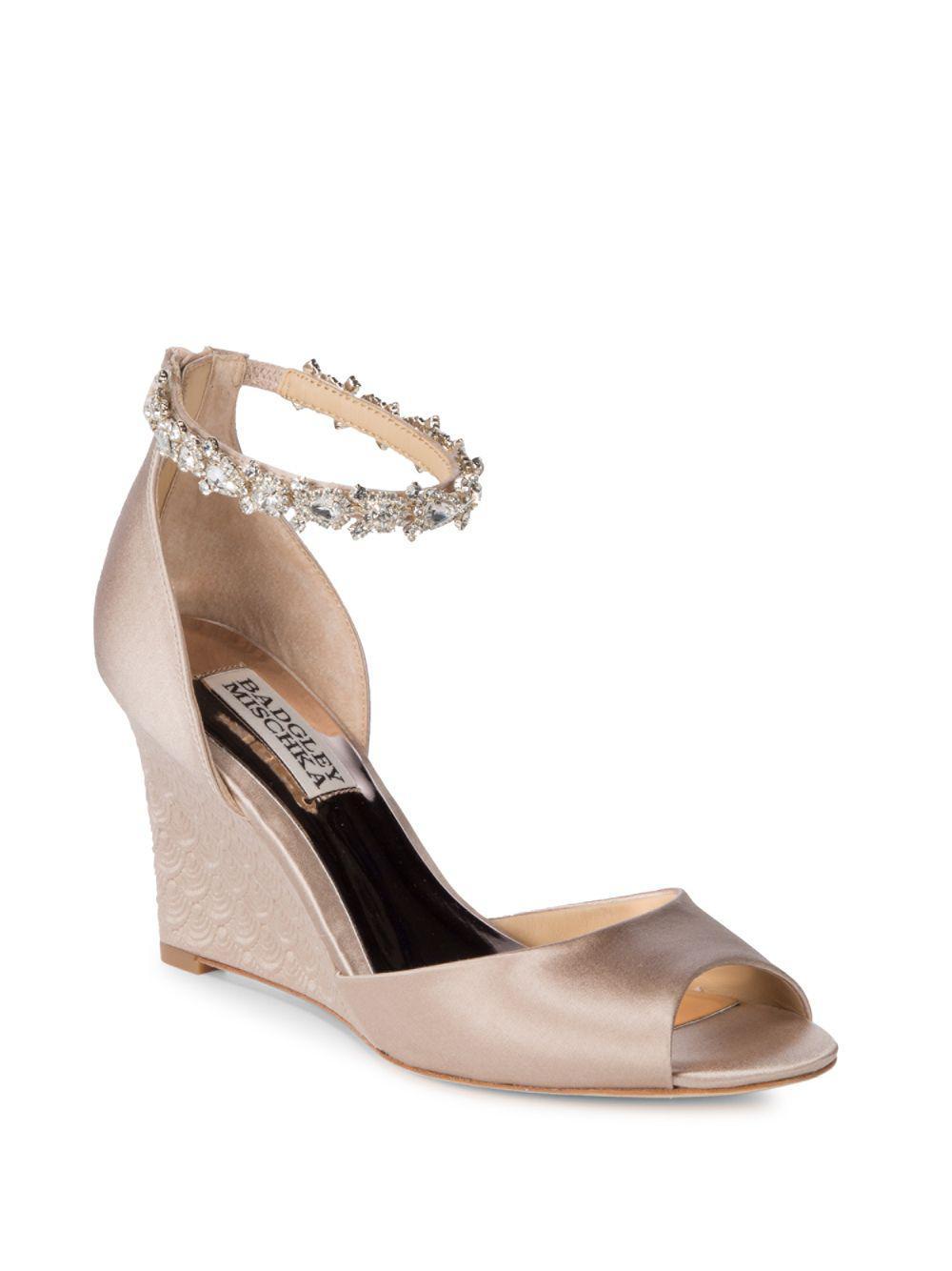 Badgley Mischka Paula Bejeweled Satin Slingback Sandals KQI81r