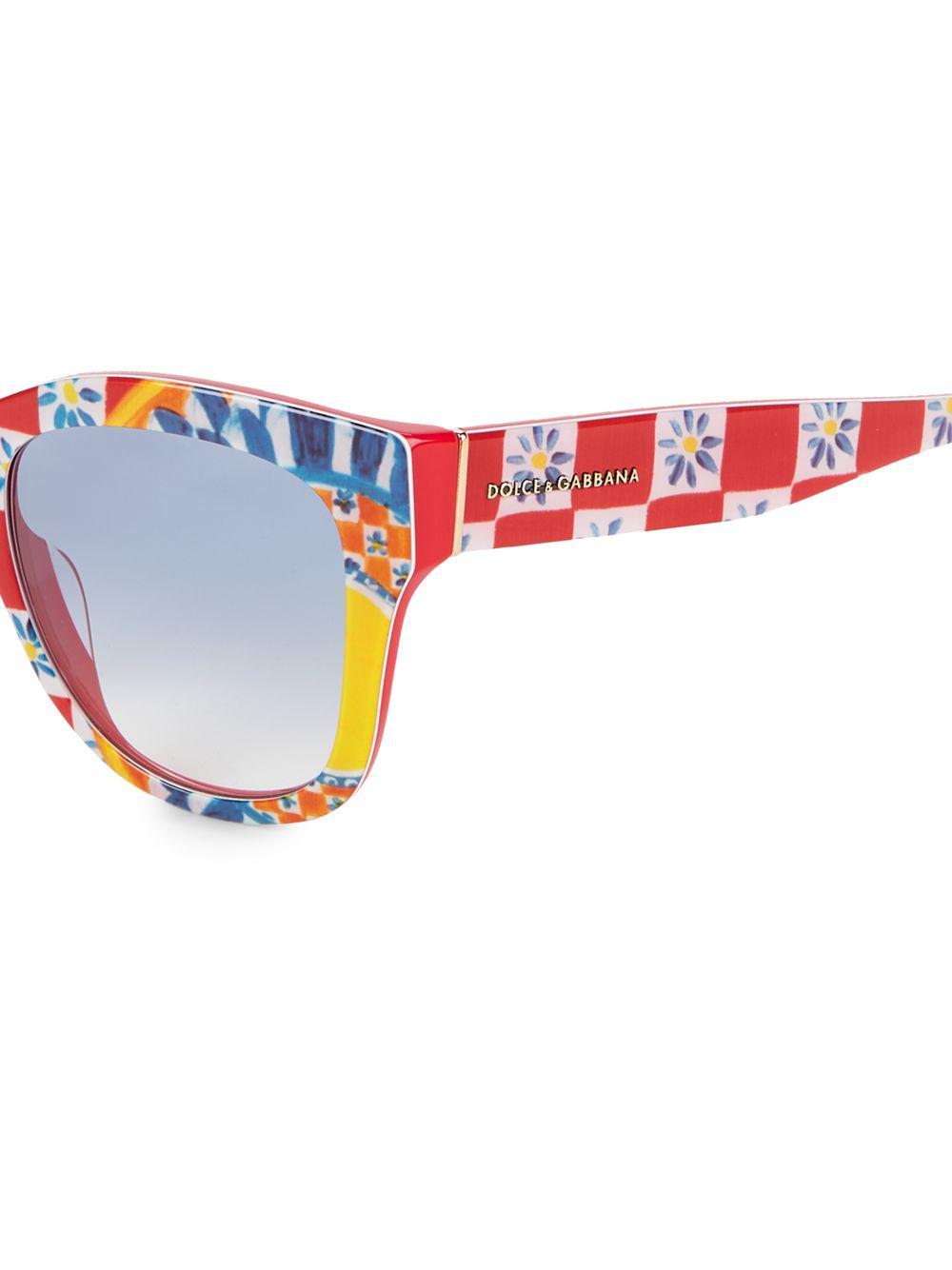 e6539a677b4 Dolce   Gabbana - Blue 55mm Floral Tile Print Square Sunglasses - Lyst.  View fullscreen
