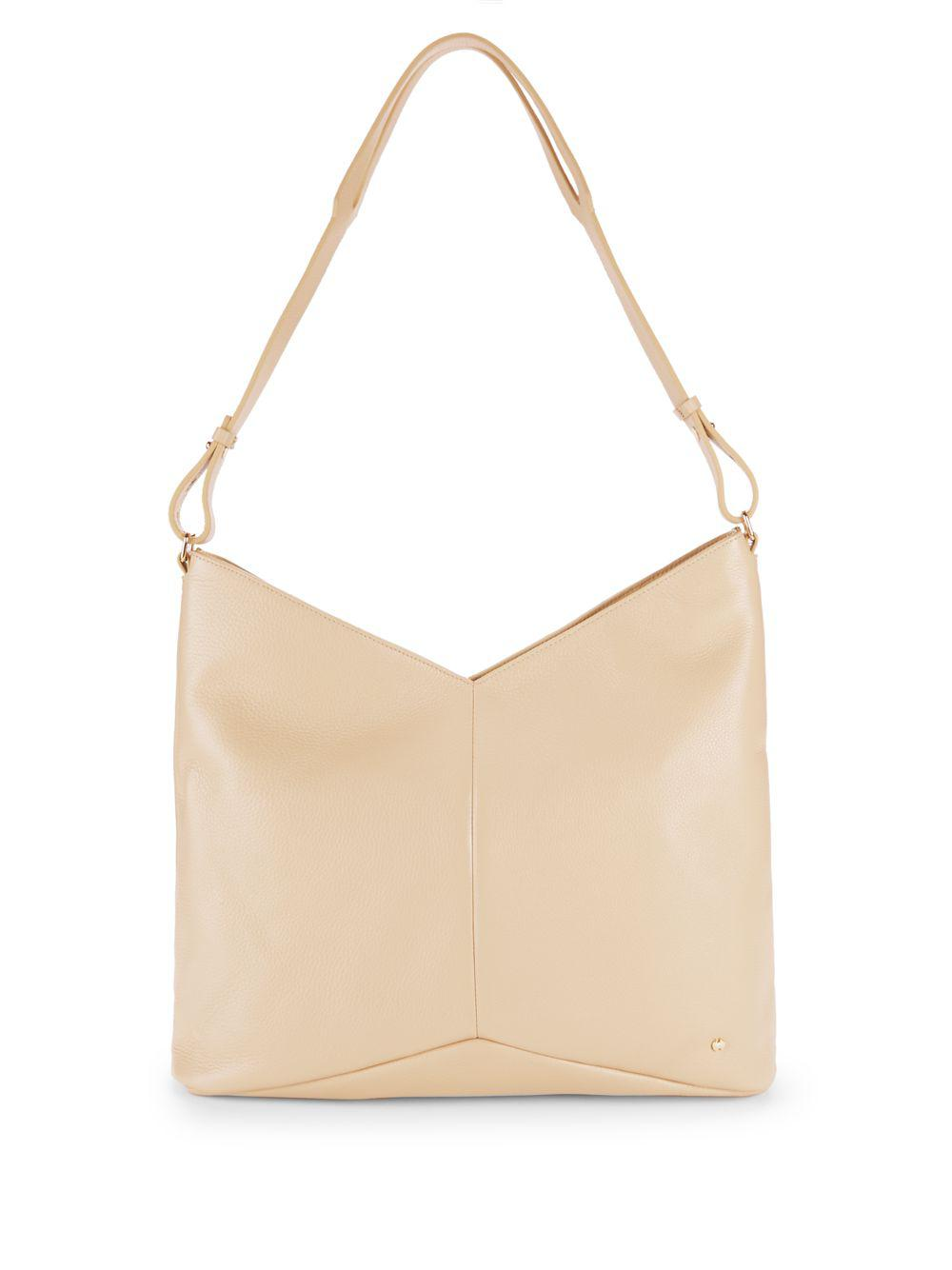 Halston Heritage Chevron Leather Tote Bag in Natural - Lyst e41b9cac884ba