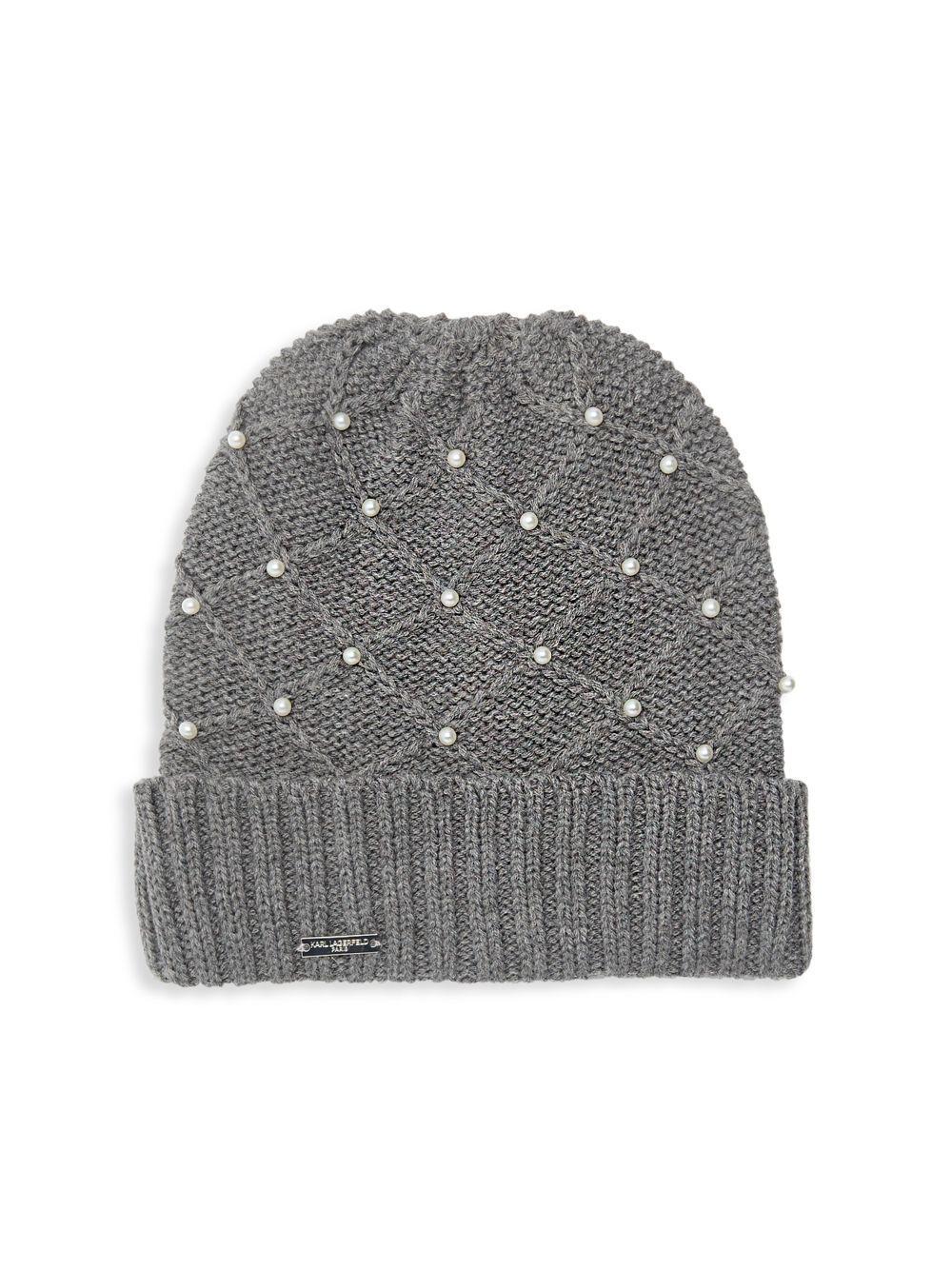 26fadcdb81b 4976c ae3fa  canada karl lagerfeld. womens gray diamond knit faux pearl hat  d0d80 0a865
