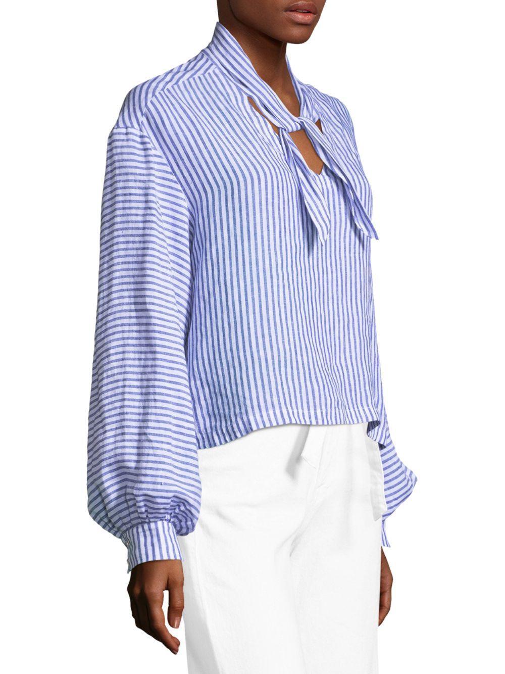 6830727f64ce FRAME - Blue Striped Handkerchief Linen Blouse - Lyst. View fullscreen