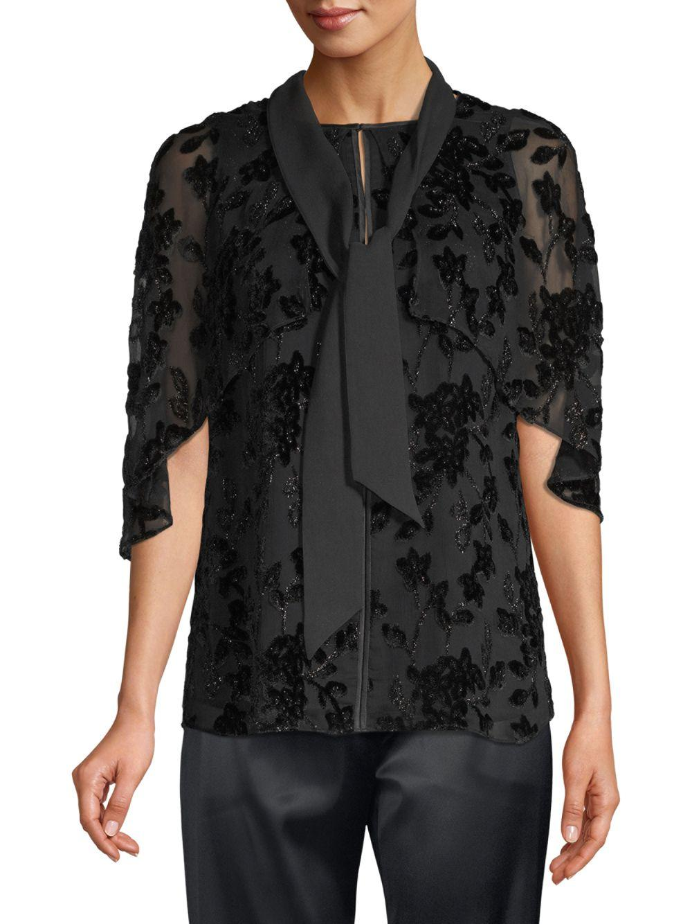 f7b0a8432eeef8 Lyst - Elie Tahari Rory Silk-blend Burnout Blouse in Black