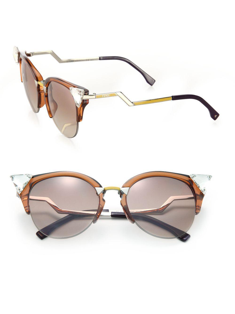 1f6b6d1fb70 Lyst - Fendi Edged Zig-zag Optyl Cat s-eye Sunglasses in Brown