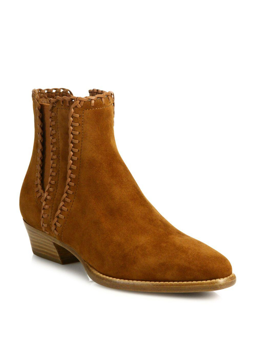 f0cd923e0af Lyst - Michael Kors Presley Whipstitched Suede Booties in Brown