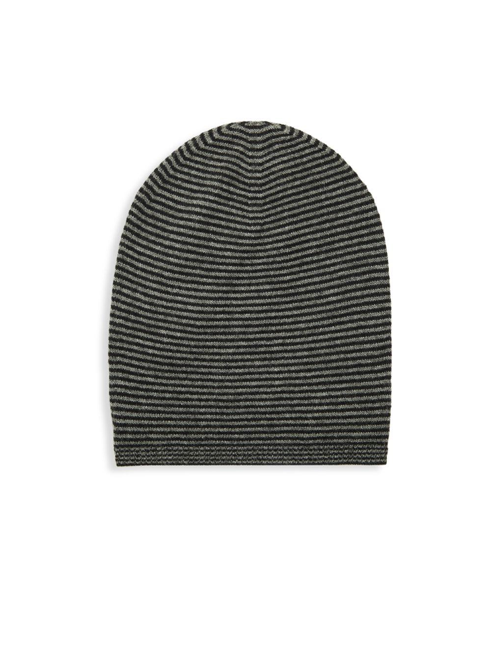 75c1e4bce4893 Lyst - Saks Fifth Avenue Striped Cashmere Beanie in Gray