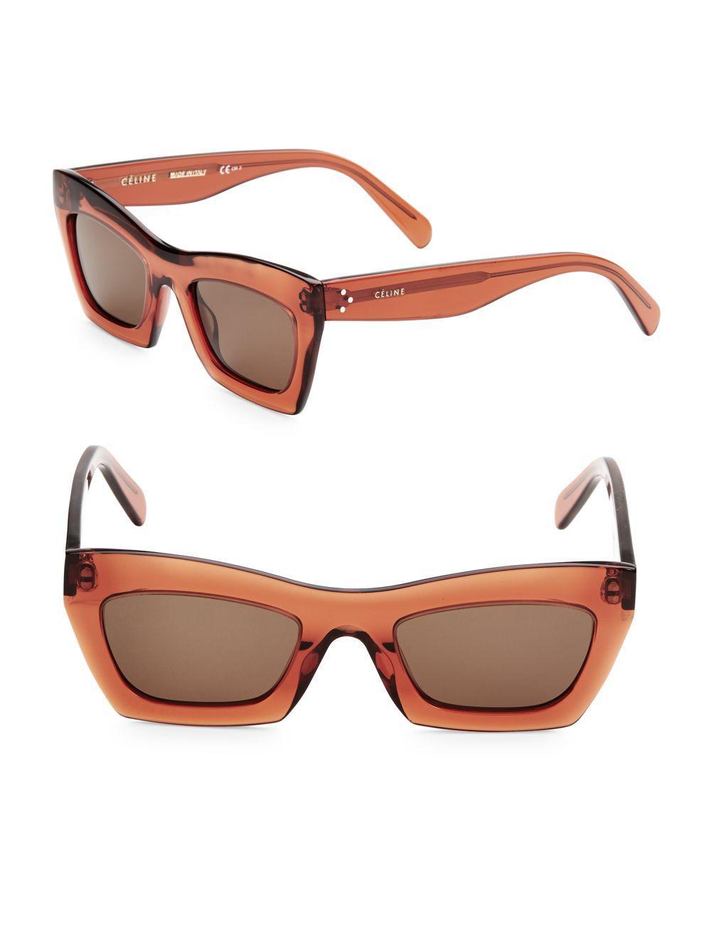 39395b5868 Céline 50mm Rectangular Sunglasses in Orange - Lyst