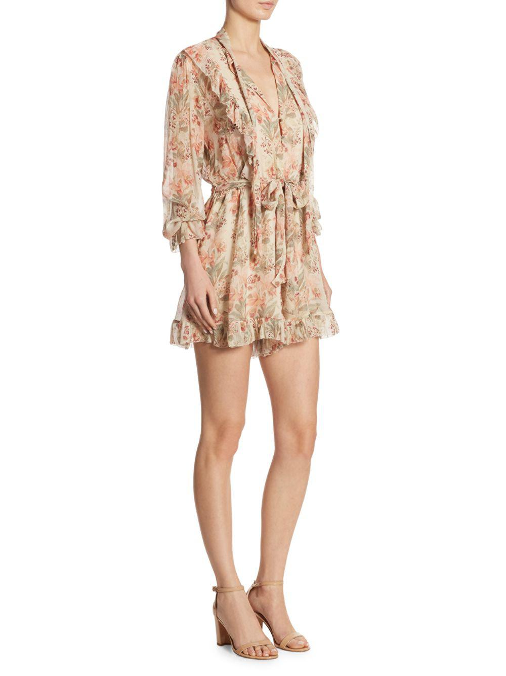 5ef866309401 Lyst - Zimmermann Printed Folly Neck Tie Silk Romper in Natural