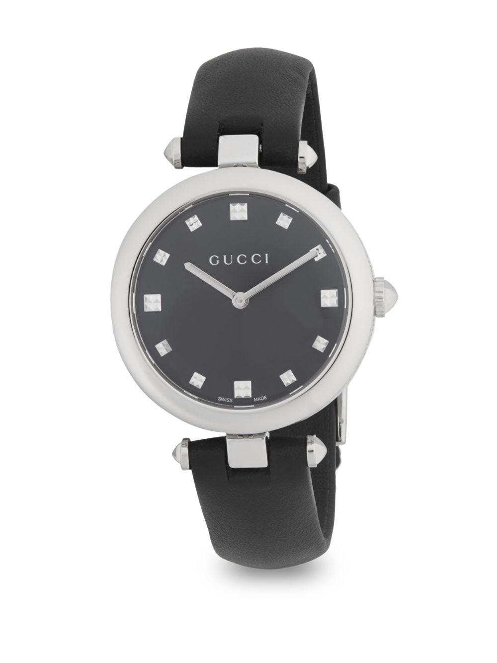 04a4fec1b43 Gucci - Black Diamantissima Leather Strap Watch - Lyst. View fullscreen