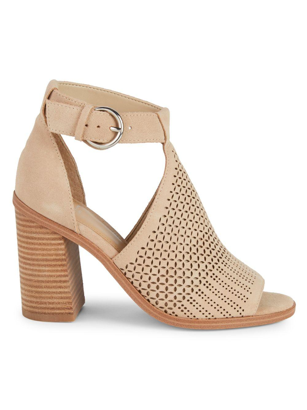 470ce8eac1e Lyst - Marc Fisher Vixen Cutout Suede Block Heel Sandals in Natural