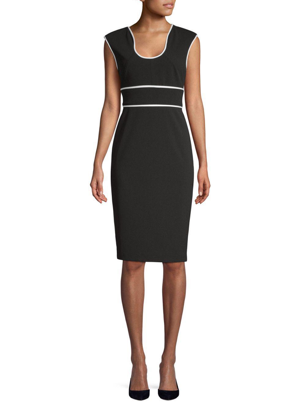 Calvin Klein Women S Black Contrast Trim Sheath Dress